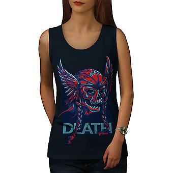 Death Face Evil Skull Women NavyTank Top | Wellcoda