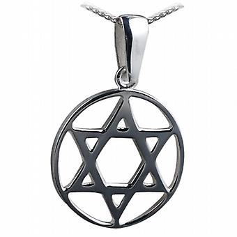 25 mm simple étoile de David en cercle pendentif avec un pouces de trottoir 24 chaîne en argent