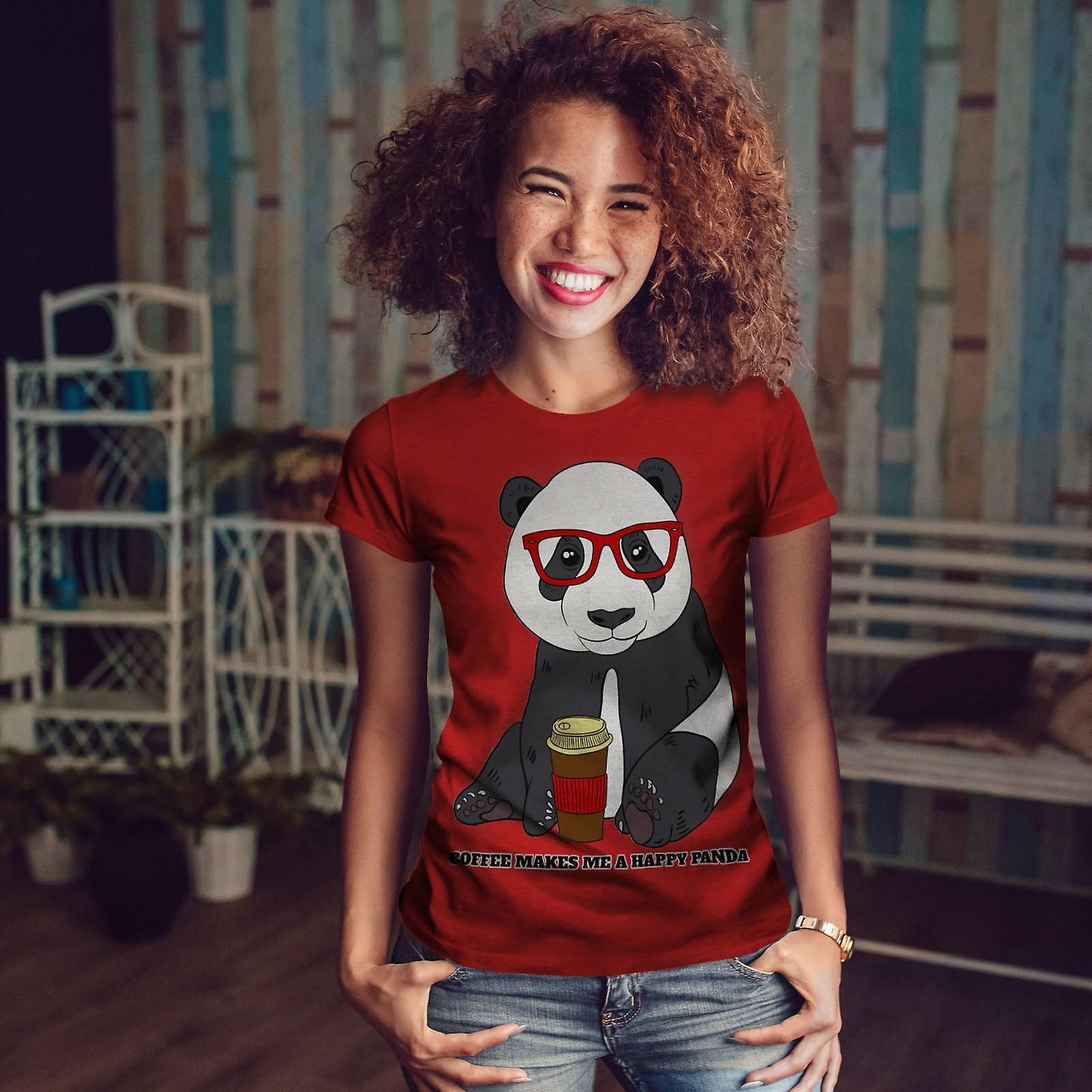 Café Panda heureux RedT-chemise femme   Wellcoda