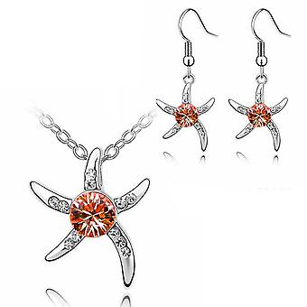 Womens Silver Starfish Necklace and Earrings Set in Orange with Crystal Stone