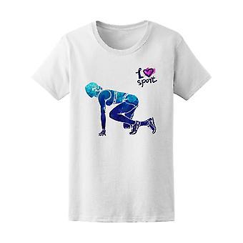 Jente Runner klar til å starte Sport Tee kvinner 's - bilde av Shutterstock