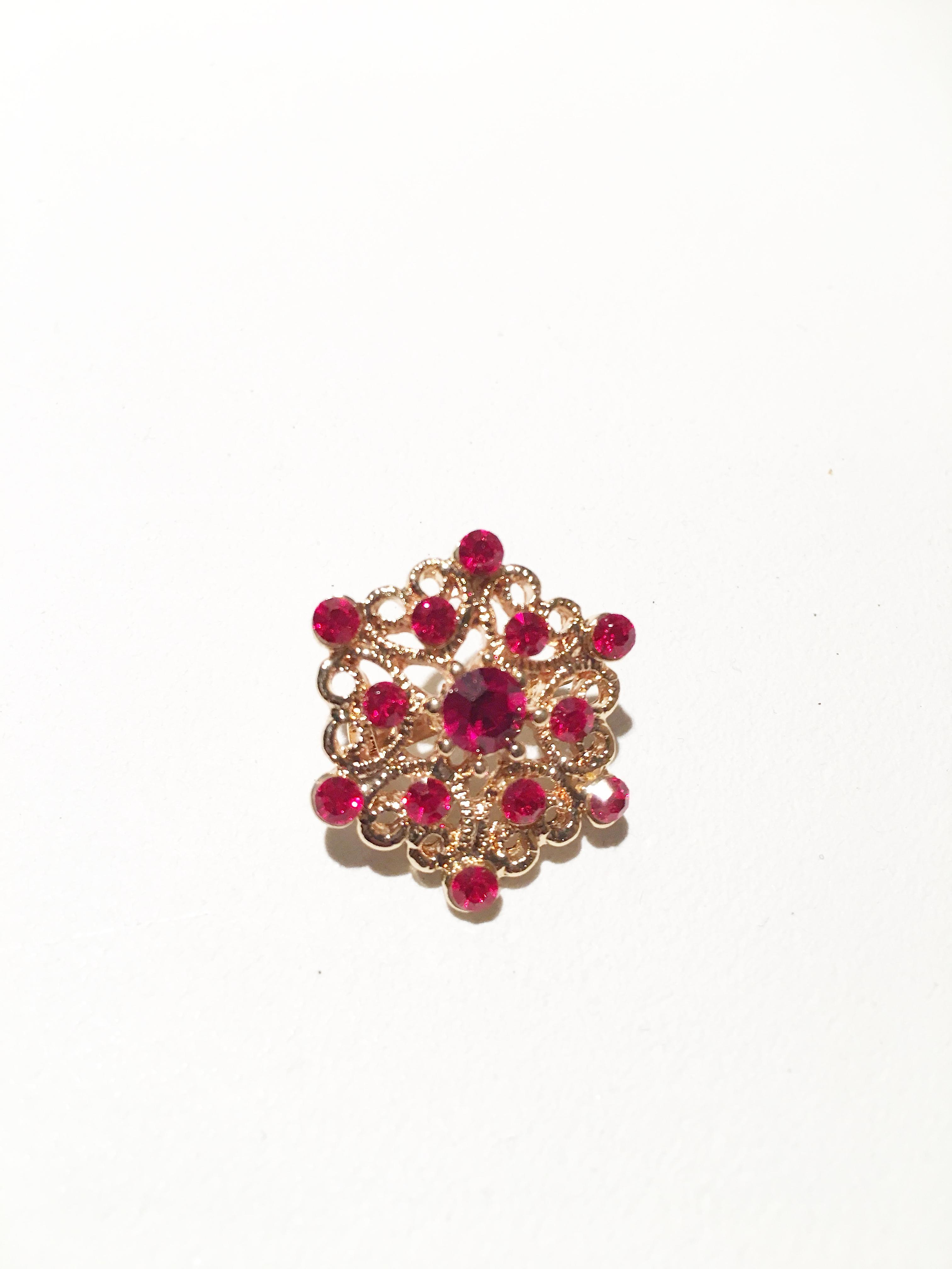 Antique Gold and Red Brooch