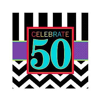Tillykke med fødselsdagen Chevron Design 50 serviet