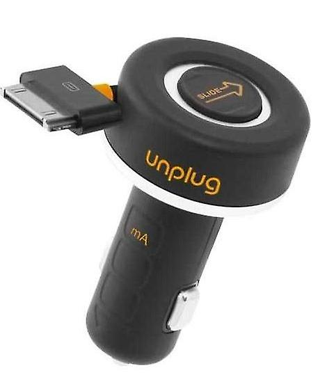 UnPlug extendable car 1A charging adapter 30pin for iPhone 4 4 S Black