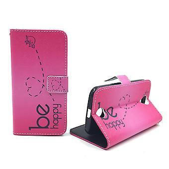 Mobile phone case pochette pour mobile WIKO Lenny 2 être heureux rose
