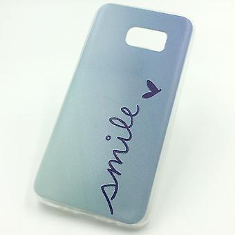 Caja del teléfono para Samsung Galaxy S7 funda bolsa protectora caso motivo slim silicona TPU Letras sonrisa Blau