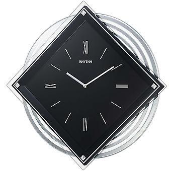 Quarzuhr Wanduhr mit Pendel Rhythm Slow-Motion-Pendel Kristallsteine 40 x 40 cm