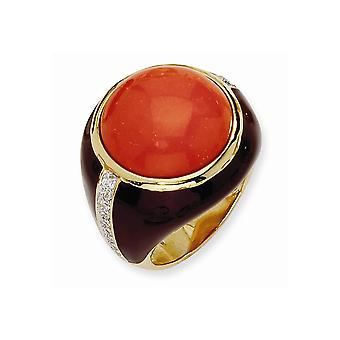 14k Gold Plated 925 Sterling Silver Enamel Brn Enam Simulated Red Created Simulated Coral and CZ Ring Jewelry Gifts for