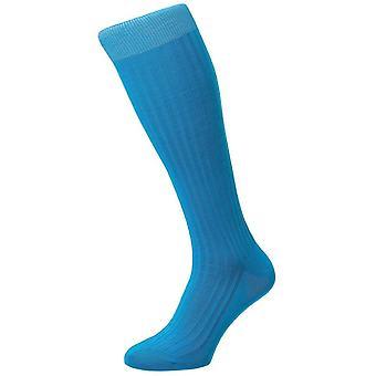 Pantherella Danvers costela Lisle de algodão sobre as meias de bezerro - turquesa brilhante