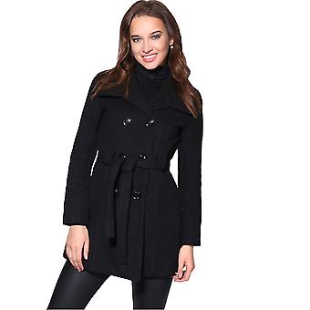 KRISP Femmes Woollen Parka Hood Dames Militaires A Line Winter Pea Coat Jacket Overcoat