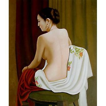 Una donna sexy, pittura ad olio su tela, 50x60 cm