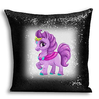 i-Tronixs - Unicorn Printed Design Black Sequin Cushion / Pillow Cover for Home Decor - 18