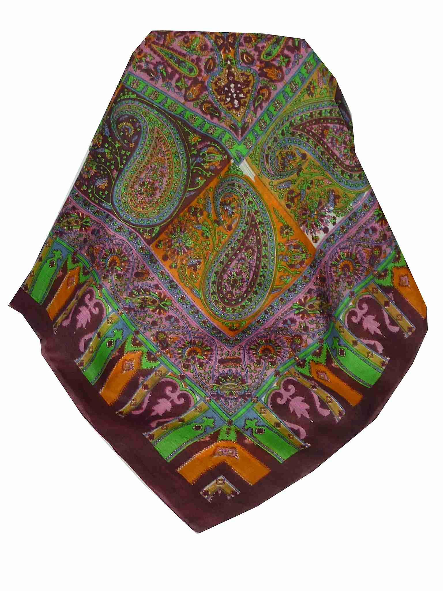 Mulberry Silk Traditional Square Scarf Aimee Wine by Pashmina & Silk