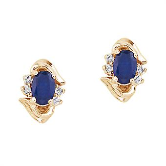 LXR 14k yellow gold sapphire and diamond earrings 1 ct
