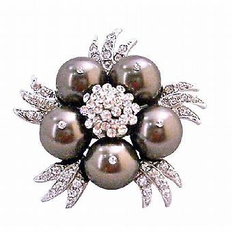 Dunkelsten braun Swarovski Schokolade Perlen Vintage Brosche Pin