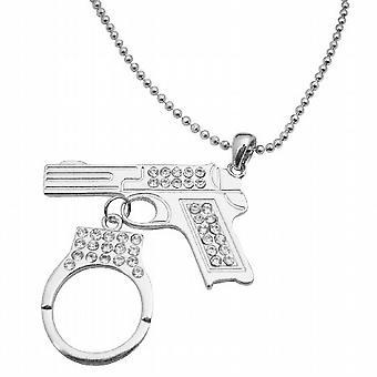 Pistole Gun w / Handschellen baumelnd Diamond Gun Pistole Handschellen Halskette