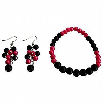 Stunning Stretchable Bracelet Grape Earrings Magenta Black Pearls