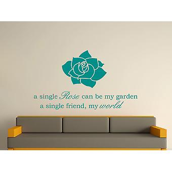 A Single Rose Wall Art Sticker - Aqua Green