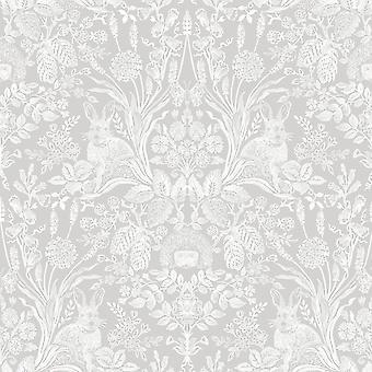 Holden Decor Harlen Wallpaper Trees Flowers Hedgehogs Leaves Rabbits Damask Grey/White