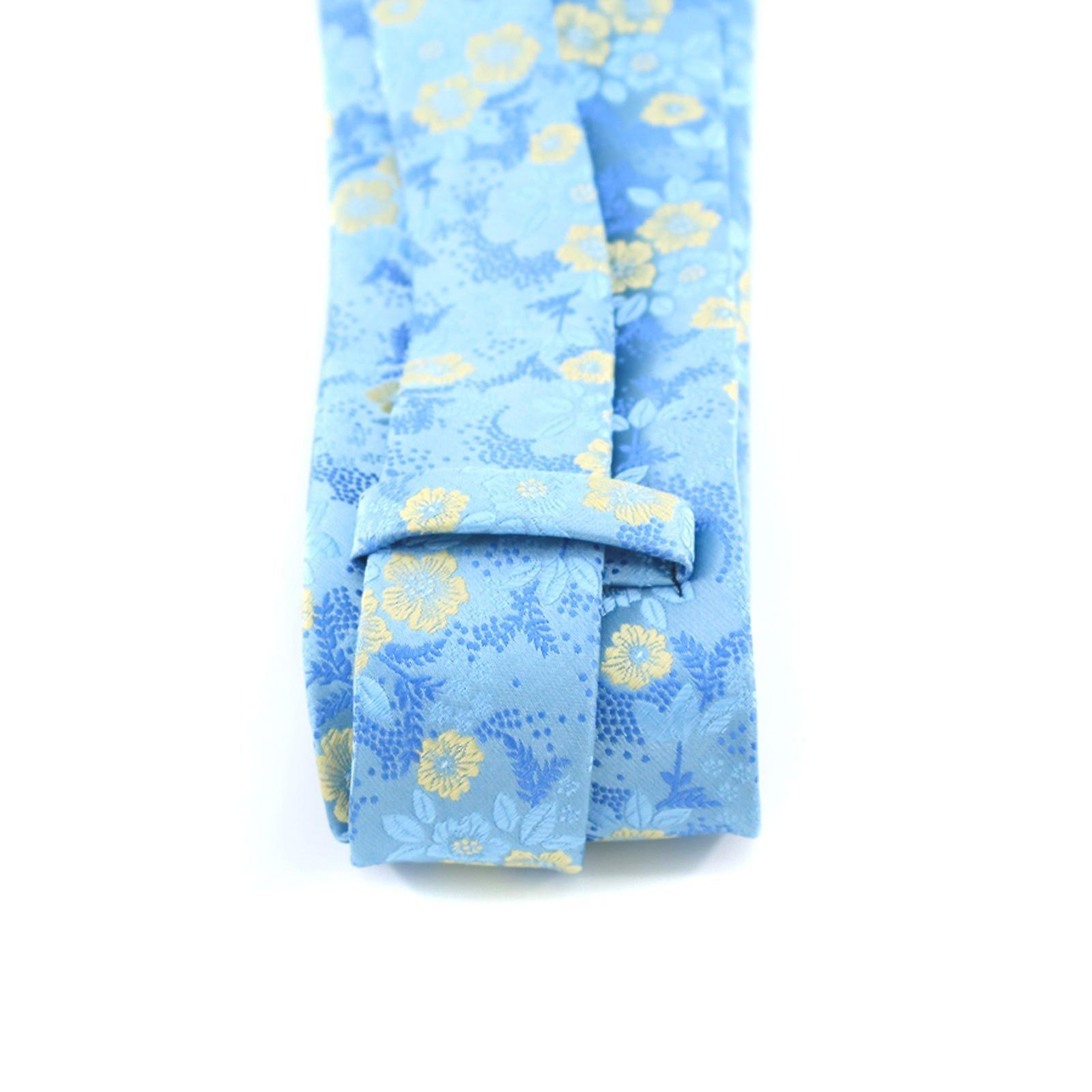 Turquoise blue & yellow floral necktie & pocket square
