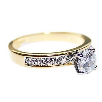 Laboratorio creato Diamond 6mm anello rotondo brillante oro pesante rivestimento elettrolitico
