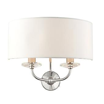 Endon Lighting Nixon 2 Light Bright Nickel And Crystal Wall Light With Vintage White Shade