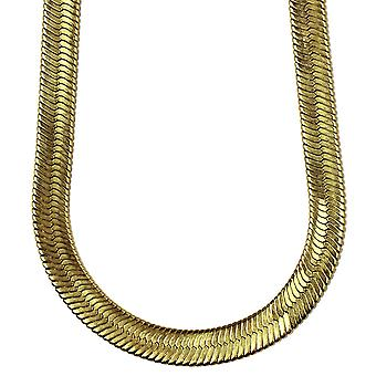 14K Gold Plated Herringbone Chain Necklace 14mm x 30 inches