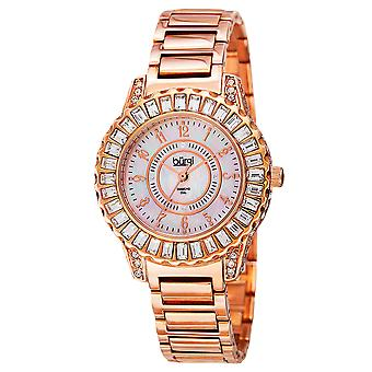 Burgi Women's Crystal Accented Rose Gold Swiss Quartz and Rose Gold Bracelet Watch  BUR095RG