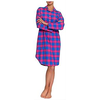 British Boxers Tartan Two Fold Flannel Nightshirt - Pink/Blue