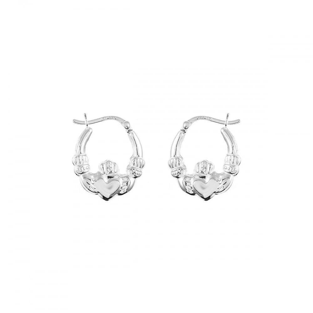 Eternity Sterling Silver Claddagh Creole Earrings