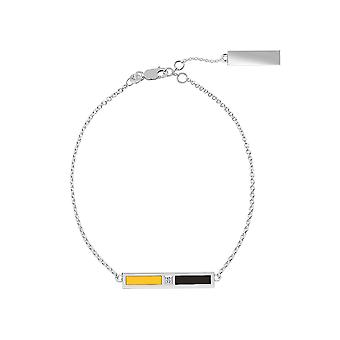 Pittsburgh Pirates Sterling Silver Diamond Bar Chain Bracelet In Yellow & Black