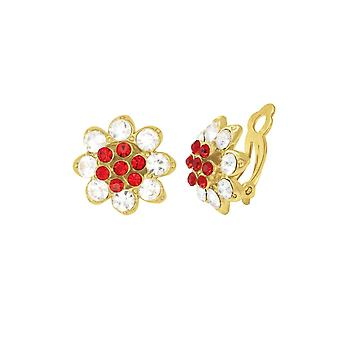 Eternal Collection Bellini Scarlet Red & Clear Crystal Gold Tone Stud Clip On Earrings