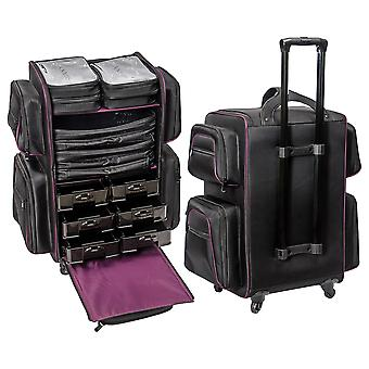 SHANY Total Jetsetter Travel Makeup Bag - XL Soft Travel Cosmetics Bag with Multiple Compartment & 10 Free Makeup Organizers - Makeup Trolley & Backpack - BLACK
