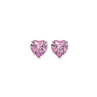 Jewelco London Rhodium Plated Sterling Silver Pink Heart Cubic Zirconia Love Heart Solitaire Stud Earrings 8mm