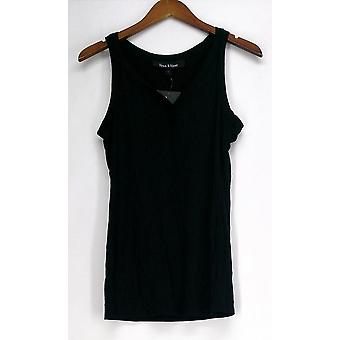Lisa Kline Top SM Lush Basic Lisa Scoop Neck Tank Black Womens 398-495