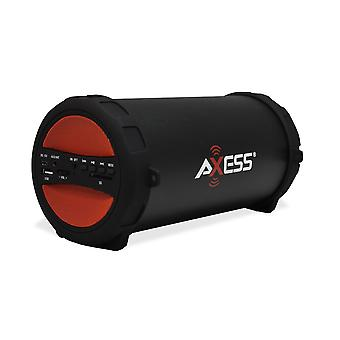 Axess Thunder Sonic Bluetooth Cylinder Loud Speaker With AM/FM Radio - Red