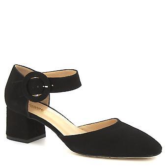 Leonardo Scarpe Donne's tacchi medi fatti a mano sandali in pelle di camoscio nero