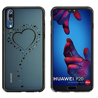 Huawei P20 Case Hearts Black - Backcover Clear Bumper Look