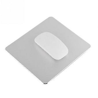 TRIXES Aluminium Mouse Mat Non-Slip Metal Pad Waterproof 22 x 18cm Silver Colour