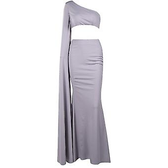 Grey one shoulder evening dress