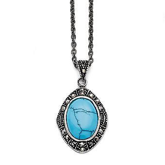 Roestvrij staal gepolijst fancy kreeft sluiting gesimuleerd turquoise crystal ovale ketting 18 inch sieraden geschenken voor vrouwen