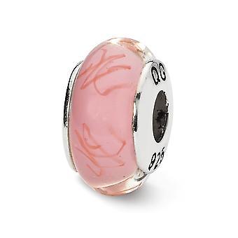 925 Plata esterlina pulido acabado antiguo reflejos rosa rojo garabatos garabatos a mano cristal encanto encanto
