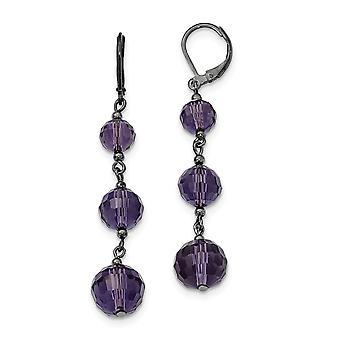 Leverback Black plated Black Crystal Bead Linear Long Drop Dangle Earrings Measures 60x12mm Wide Jewelry Gifts for Women