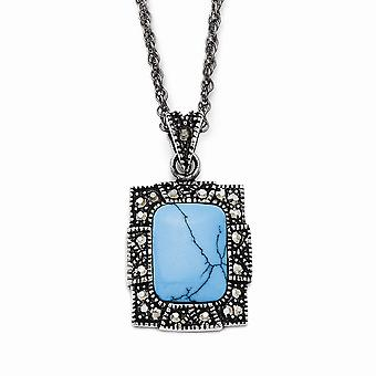 Stainless Steel Polished Fancy Lobster Closure Simulated Turquoise Crystal Rectangular Necklace 18 Inch Jewelry Gifts fo