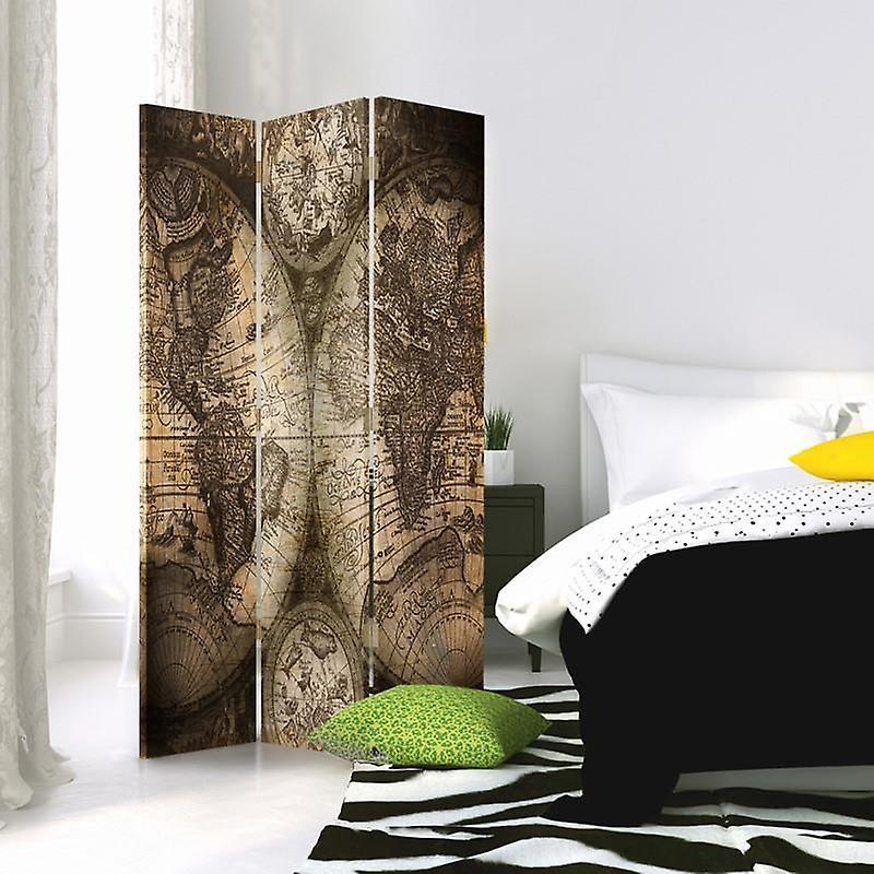 Diviseur de chambre, 3 panneaux, unilatéral, toile, carte du monde antique