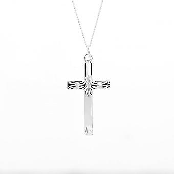 Eternity Sterling Silver Diamond Cut Cross Pendentif et 18'apos;Apos; Chain