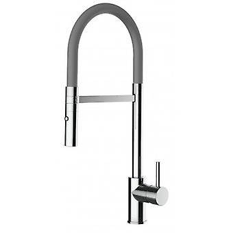 Single-lever Kitchen Sink Mixer With Grey Spout And 2 Jets Shower - 194