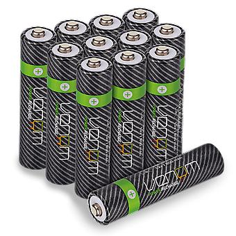 Venom power recharge - 800mah nimh rechargeable aaa batteries (pack of 12)