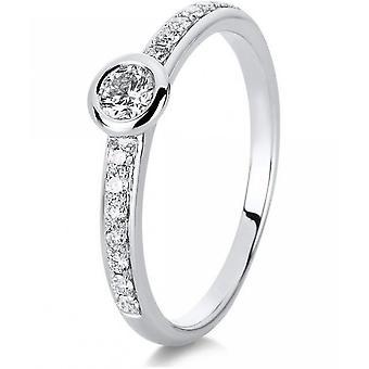 Diamond Ring Ring - 14K 585 Or blanc - 0.37 ct.
