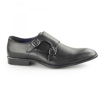 Silver Street London Bourne Mens Leather Double Monk Strap Shoes Black